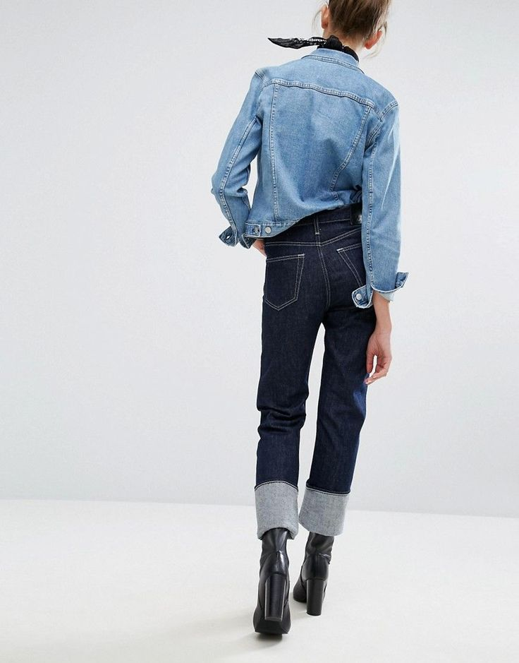 Weekday High Waist Worker Jean with Turn Up - Blue