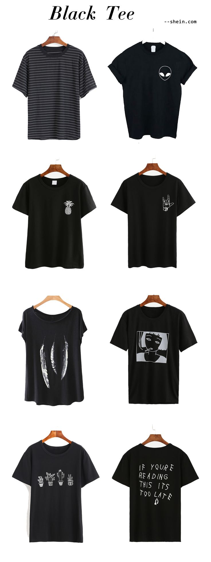 Finally i have all of these in my closet! Love black tee for it's so versatile & stylish! Love shein!