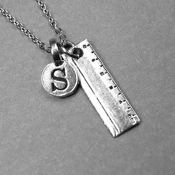 ruler necklace  pencil ruler charm  silver plated pewter  initial necklace  initial hand stamped