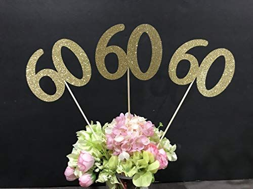 Amazon 60th Birthday Decoration Centerpiece Sticks Glitter