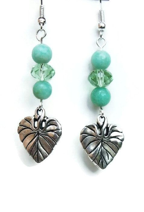 Leaf earrings teal blue forest inspired fairy by TheGracefulElf