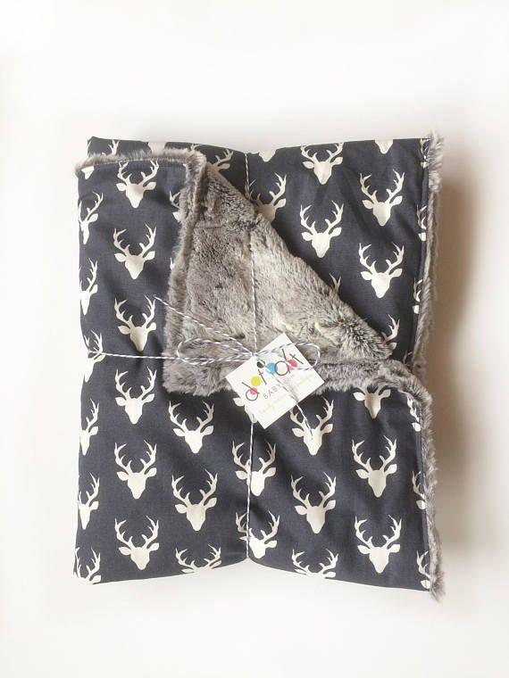 Oh Deer! Navy White - Baby Boy Minky - Stroller Crib woodland deer buck stag antlers Embroidered Personalized woodland nursery decor - handmade by Dot Dot Baby - Jes Hoyda Tulsa, Oklahoma