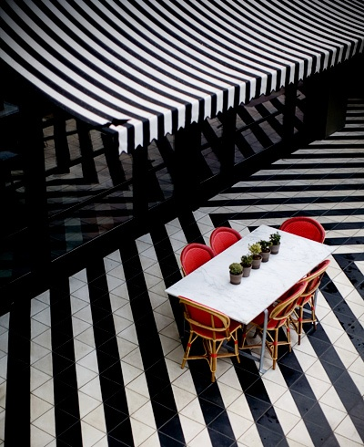Cafe at Hotel Saint Cecilia, Austin  Photography by Allison V Smith: Polka Dots, Dance Floors, Black And White, Architecture Interiors, Interiors Design, Floors Design, Black White Stripes, Hotels