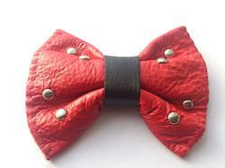 RED handmade leather bow tie from www.solace-designs.com