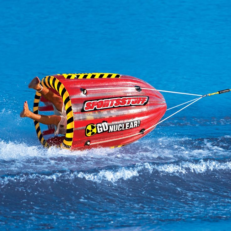 Prepare for some serious tumbling excitement with this unique towable that you won't find anywhere else. The bullet-shaped GYRO will be sent into a spin with a simple turn of the boat.