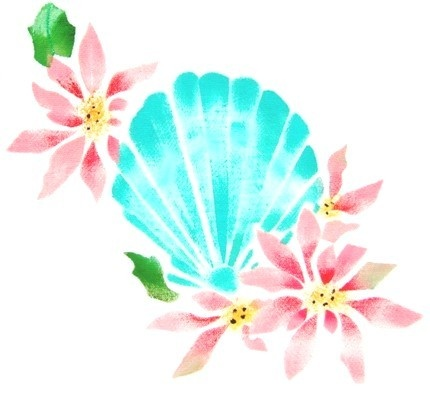 Seashell with Flowers vintage stencil by ThistleFinchGallery, $8.00