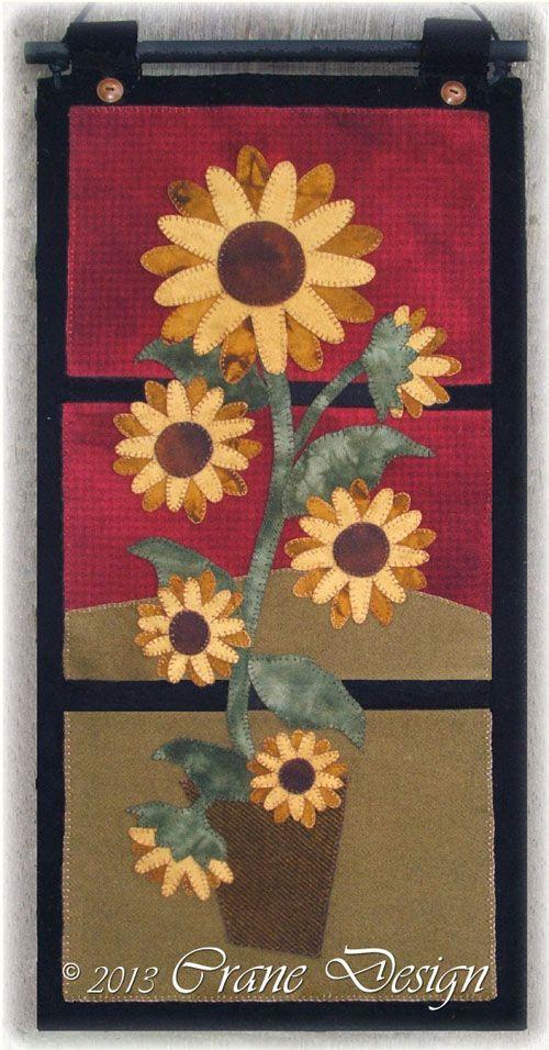 Sunflower Daze Wool Applique Wall Hanging. Designed & stitched by Jan Mott of Crane Design