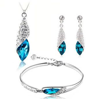 Free shipping blue stone 925 sterling silver jewelry set earrings bracelets pendant necklaces 3pcs/set wholesale fashion jewelry