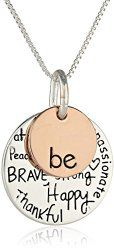 "Two-Tone Sterling Silver ""Be"" Graffiti Charm Necklace, 18?"