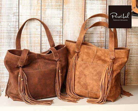 Distressed Leather Tote Bag Tan Fringes Purse Laptop School In 2018