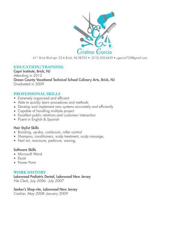 Hair Stylist | Cosmetology resume | Hairstylist resume ...