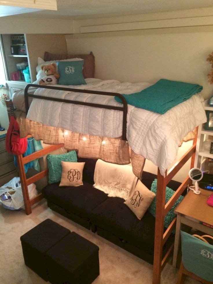 100+ cute loft beds college dorm room design ideas for girl (63)