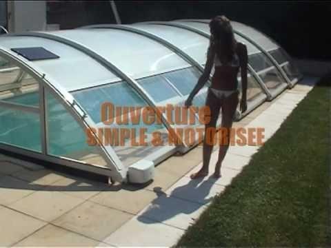 abri de piscine telescopique mi-haut POOLABRI : un abri piscine pas cher et pratique - YouTube