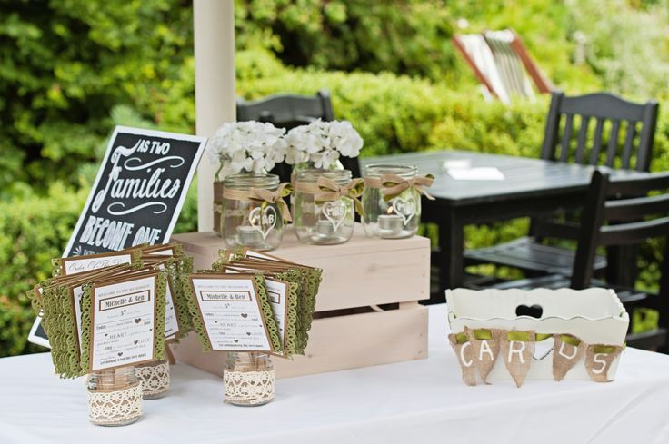 Rustic Chic Wedding; Guest Welcome Table; Card Box; Hessian; Lace; Decorated Jam Jars; Seating Sign; Order Of The Day; Green & White Wedding; Hand-made