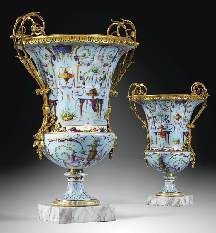 A pair of gilt-bronze-mounted Sèvres soft-paste porcelain `Vases Medici', almost certainly supplied by the marchand-mercier Dominique Daguerre, the mounts attributed to Pierre-Philippe Thomire (1751-1843) Louis XVI, circa 1788-1790.