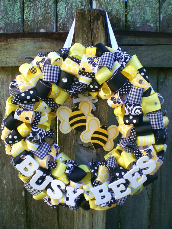 """""""Boynton's Busy Bees"""" Black and Yellow Bumble Bee Themed Ribbon Wreath for Classroom, Party, or Baby Shower"""