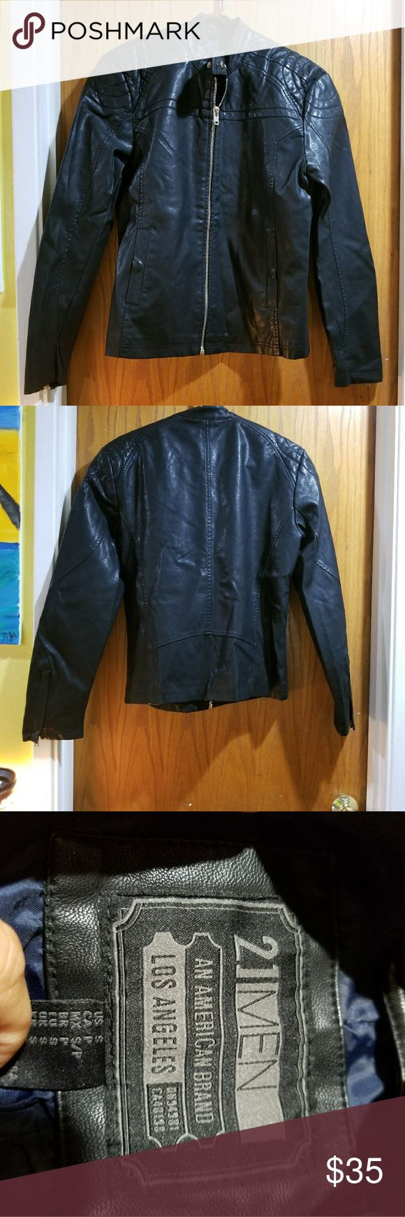 Men's Fuax Leather jacket Great condition only worn one time. This is from forever 21. 21men Jackets & Coats Bomber & Varsity