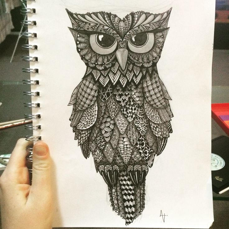 Zentangle inspired art by Amber - an owl design for my beautiful sister-in-law