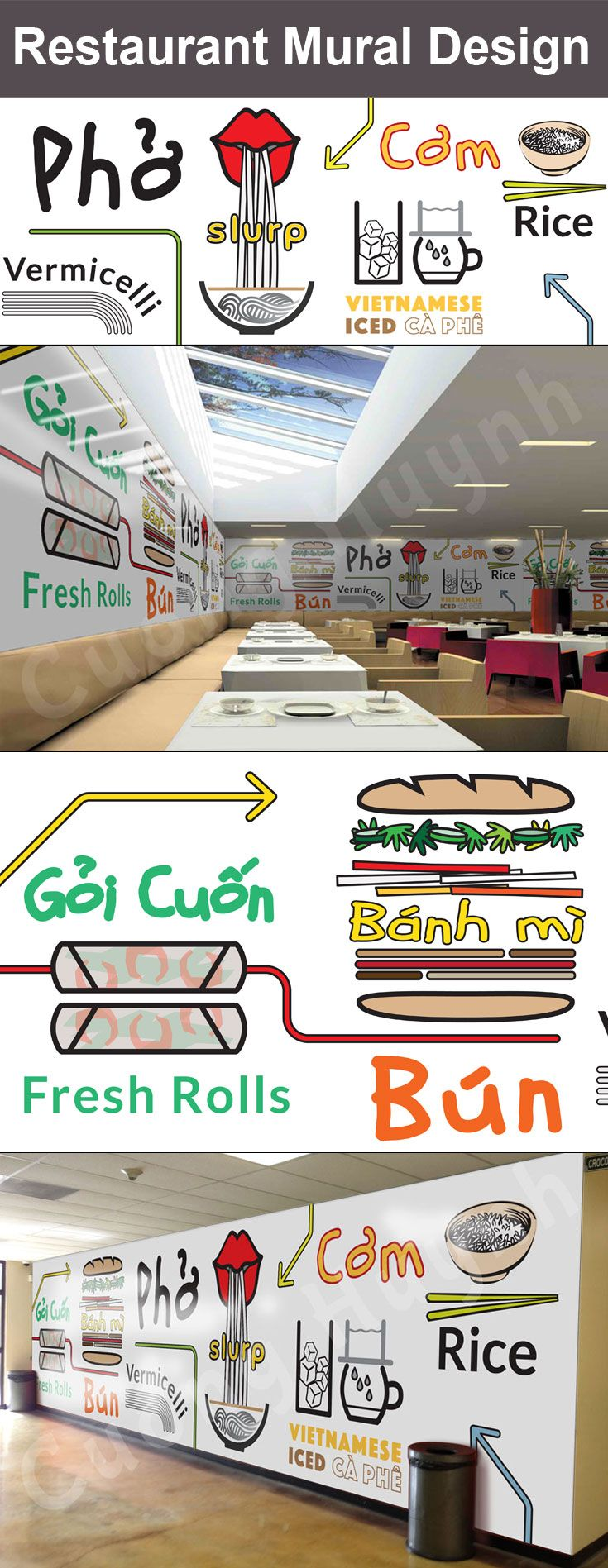 Mural design developed for a pho restaurant. Several conceptual mockups are created to help restaurant owner visualize overall look and feel of front of the house. Digital vector format, 30'x8′, 2015. Ready to be sized to any dimension for print. http://www.cthcreative.com/portfolio/pho-restaurant-mural-design-concept/