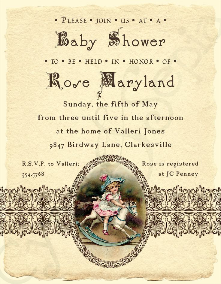 Printable Baby Shower Invitation - 4.25 x 5.5 - Antique Rocking Horse - Ivory, Brown, Pink, Blue - Girls, Vintage, Victorian, Storybook