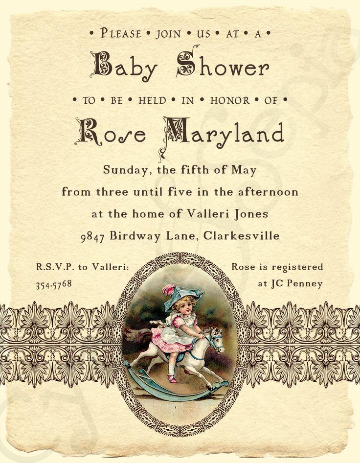 Printable Baby Shower Invitation - 4.25 x 5.5 - Antique Rocking Horse - Ivory, Brown, Pink, Blue - Girls, Vintage, Victorian, Storybook