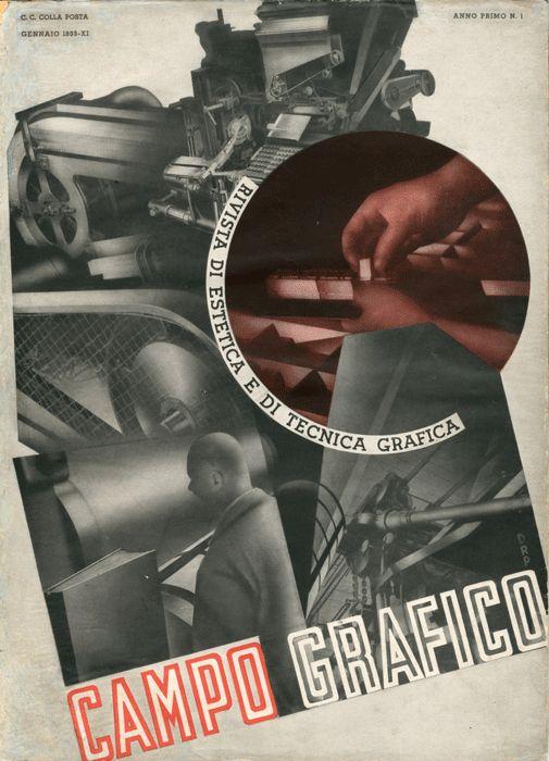 Copertina del primo numero, Gennaio 1933. Fotomontaggio di Carlo Dradi, (1908 - 1982), Attilio Rossi, (1909 - 1994) e Battista Pallavera.
