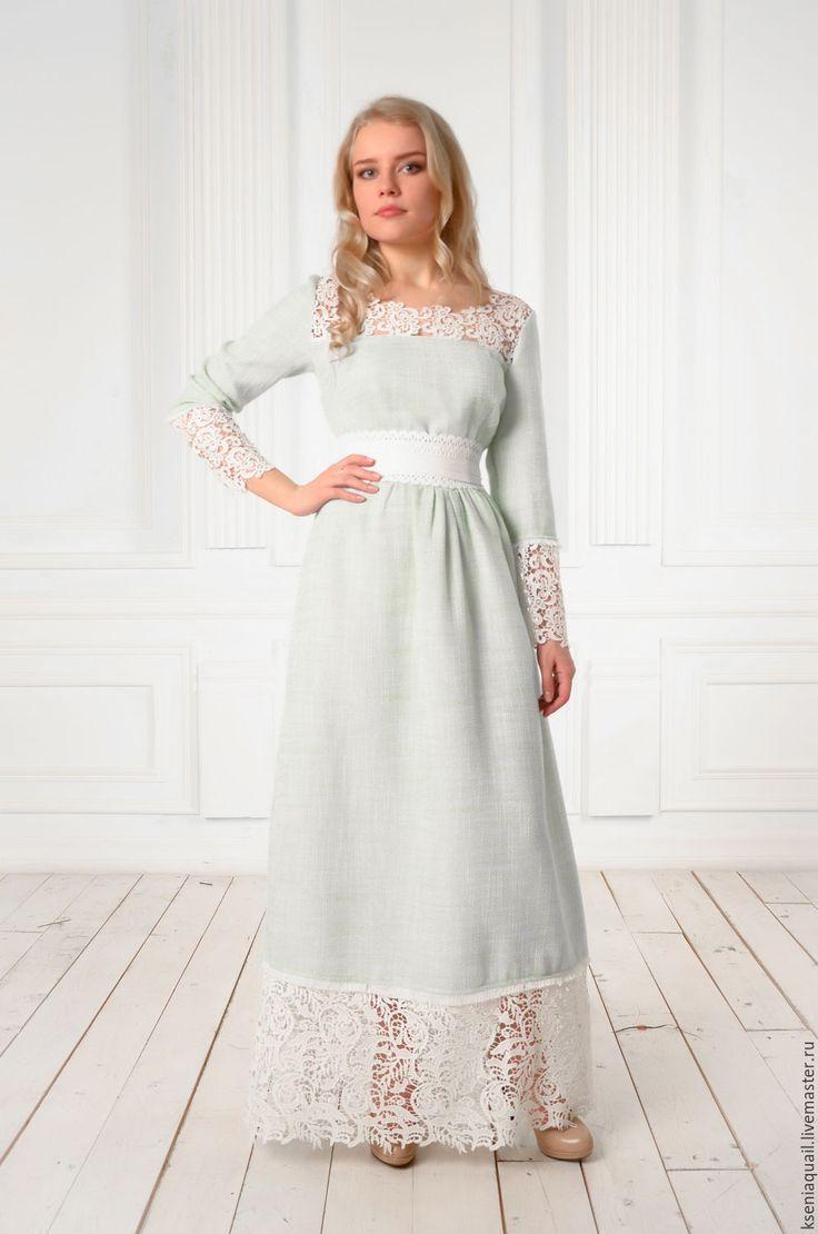 Купить или заказать Платье 'Любавушка'  макси длина мятное в интернет-магазине на Ярмарке Мастеров. Современное нарядное…