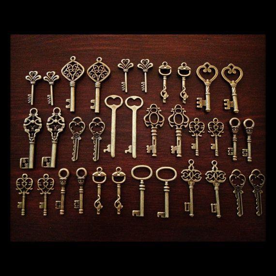 Schlüssel zum Glück 50 Antik Bronze Skelett von thejourneysend