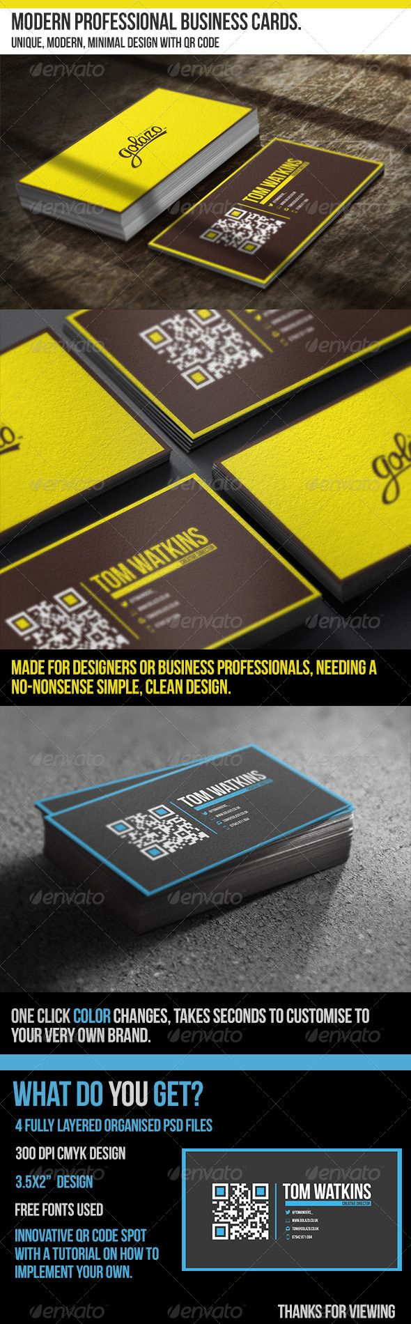 Modern Professional Business Cards - With QR Code - Corporate Business Cards