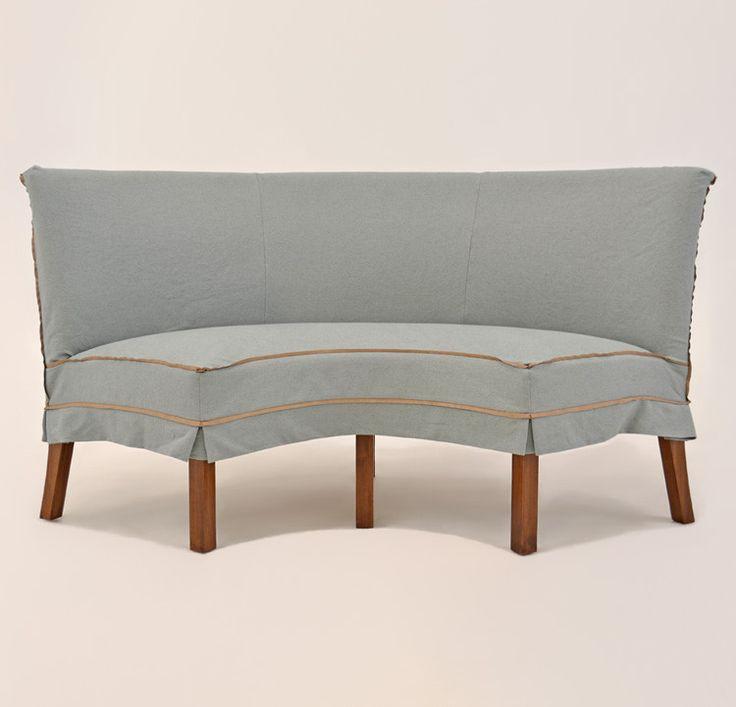 Quatrine Custom Furniture Slipcovered Half Circle Dining Bench Dining Bench Slipcovered