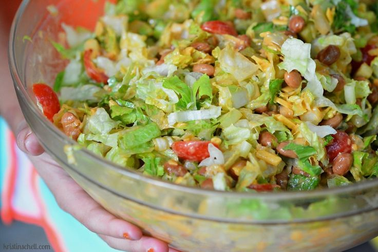 Perfect for a Potluck - Fiesta Bean Salad with Homemade Catalina Dressing {Kids LOVE the FRITOS}