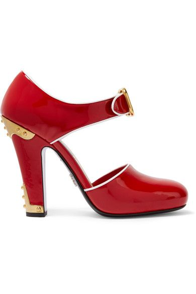 GABRIELLE'S AMAZING FANTASY CLOSET   Prada Red Patent Leather Embellished Pump Heel measures approximately 110mm/ 4.5 inches Made in Italy