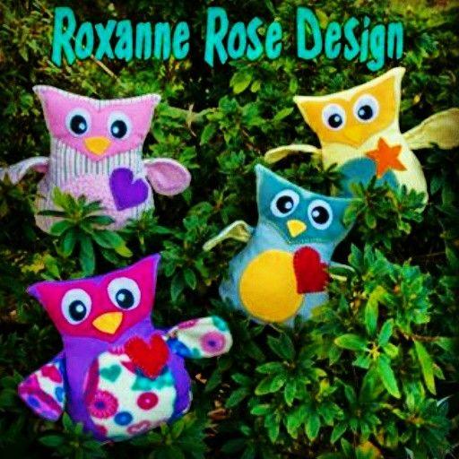 Softie owls. Handmade in New Zealand. Roxanne Rose Design