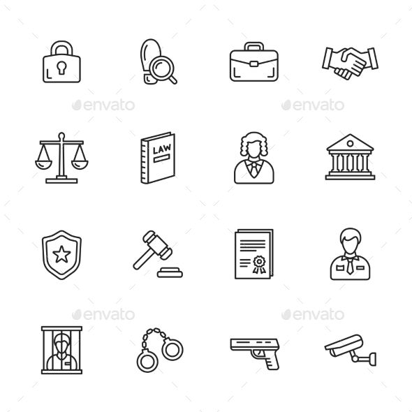 Law Icons — Vector EPS #protection #handcuff • Available here → https://graphicriver.net/item/law-icons/12186998?ref=pxcr
