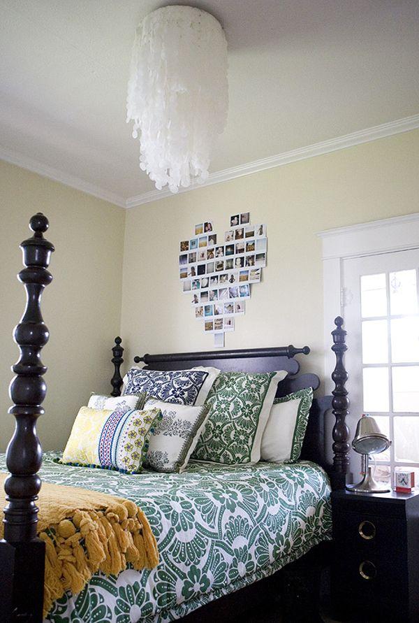 DIY wax paper chandelierIdeas, Diy Chandeliers, Beds, Pictures Collage, Heart Shape, Capiz Shells, Photos Collage, Bedrooms, Wax Paper