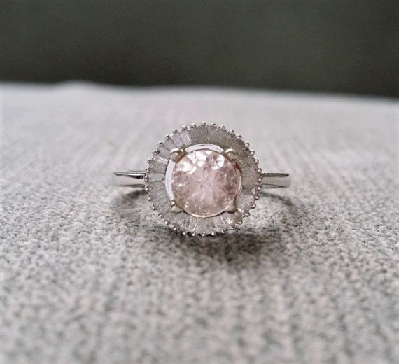 Morganite and White Diamond Ring Engagement Ballerina Ring Flower Round Pink Peach Halo Baguette Pave Setting 10K White Gold size 5.25
