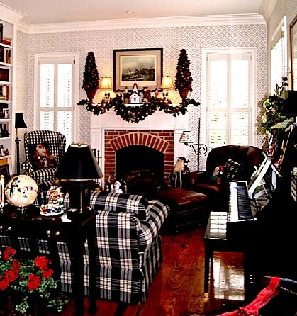 Sitting room with black & white plaid and check furniture