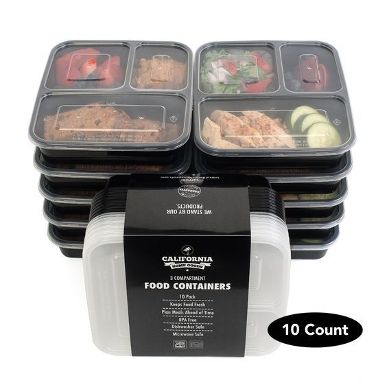 3 sections microwavable reusable freezer safe meal prep food storage containers 10 pack storage containers food storage and freezer