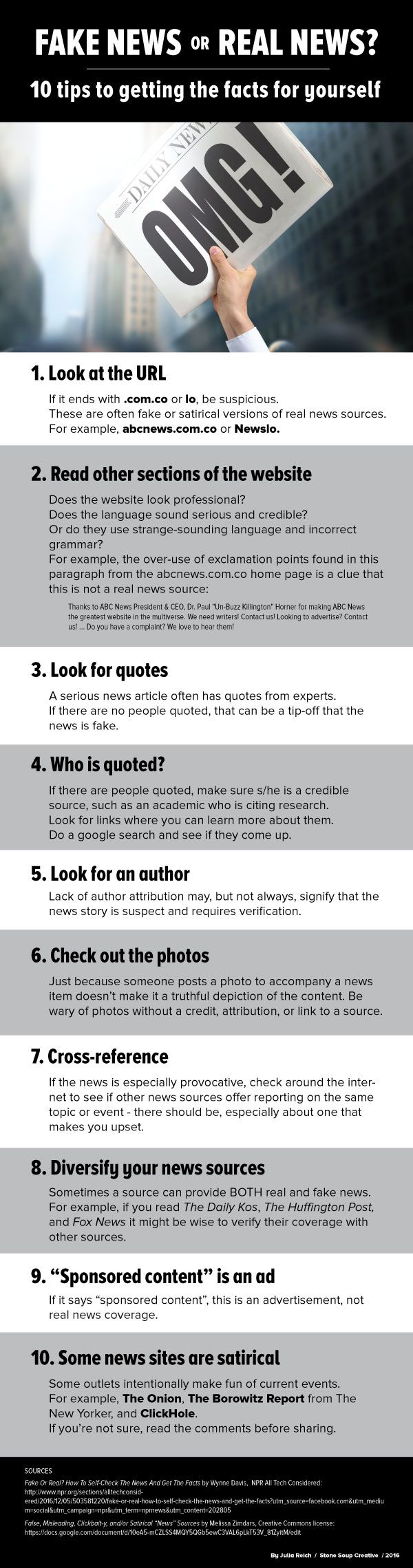 I read a good article today on NPR's All Tech Considered, Fake Or Real? How To Self-Check The News And Get The Facts. Except I figure people who aren't schooled in figuring out the difference aren't likely to be reading an NPR article. So I quickly put together this infographic based on the article and a... Read more ➞