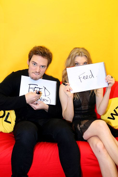 Natalie Dormer and Sam Claflin visit BuzzFeed on November 10, 2014.