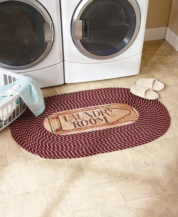 "Laundry Room Rug 48"" Braided Oval Floor Mat Burgundy Brown Decorative Home Decor"