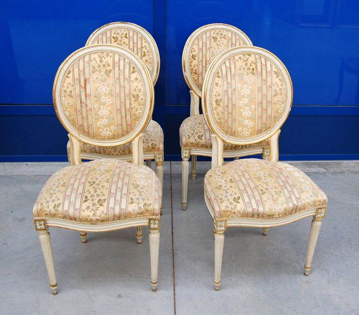 4 sedie '900 laccate in stile Luigi XVI schienale a medaglione