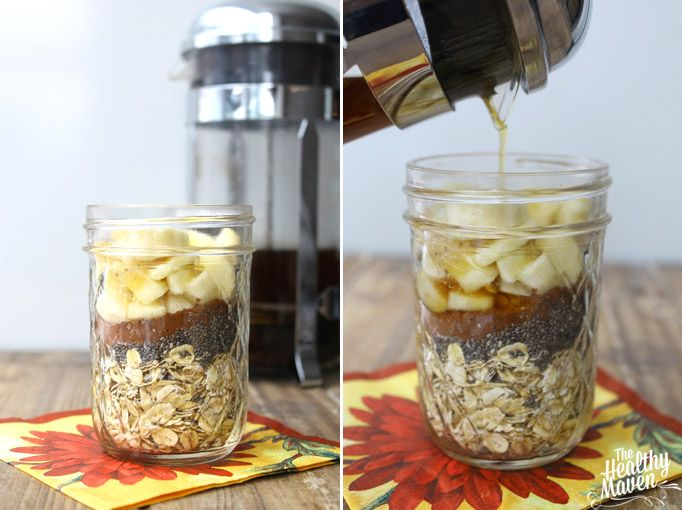 mocha or chai overnight oats - my adapted list: rolled oats, chia seeds, ripe banana, liquid sweetener, brewed chai tea; healthy maven