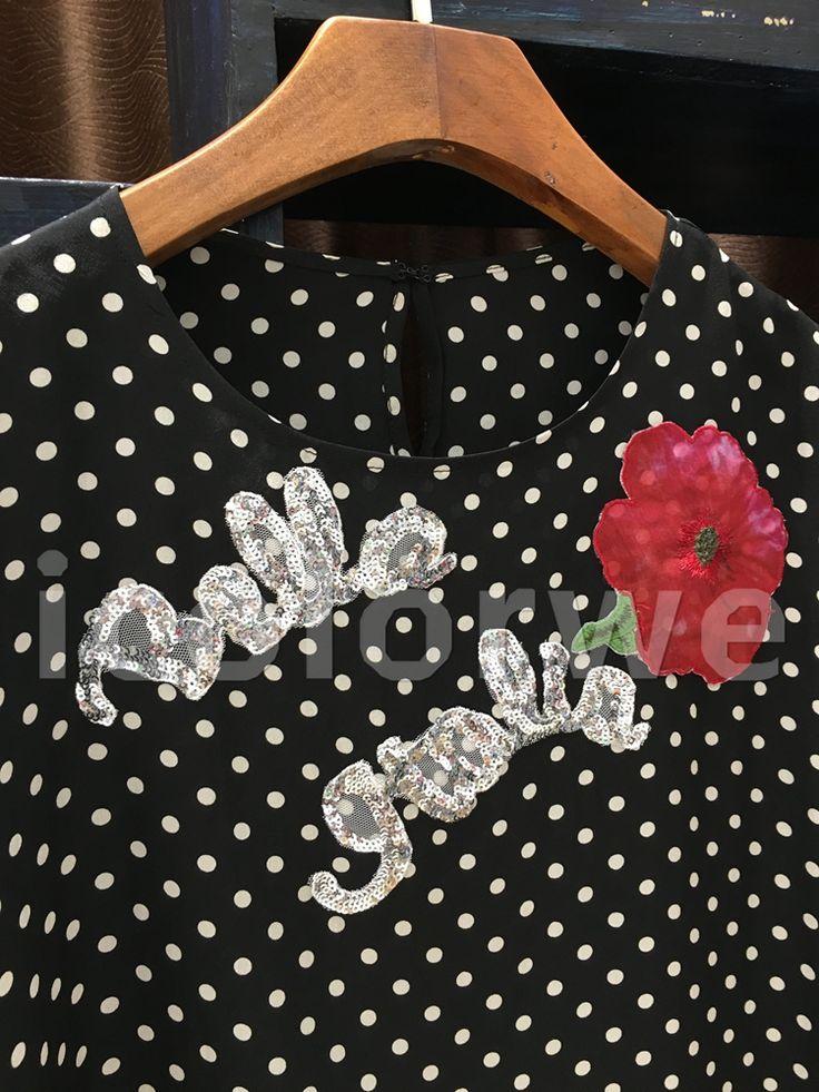 Star Brand Runway summer Women tops polka dot print Sequins Rose letter loose silk t shirt  Women t shirt Female Tshirt 2017 -in T-Shirts from Women's Clothing & Accessories on Aliexpress.com | Alibaba Group