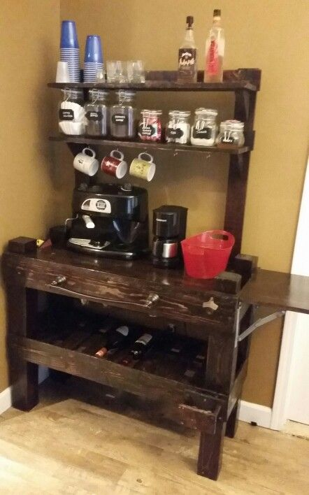 Pallet coffee bar, wine rack and wet bar all in one, made ...