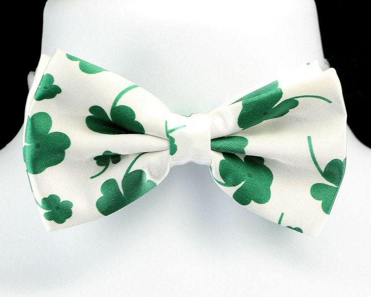 Green Shamrock Mens Bow Tie Adjustable St. Patrick's Day Gift White Necktie New #TiesJustForYou #BowTie