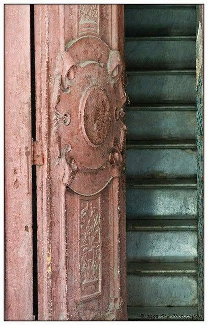 Parisian front door. Pink and shabby. What's not to like?