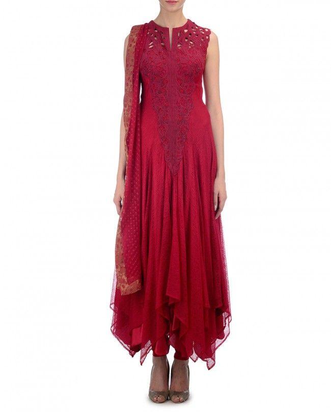 Crimson Red Floral Applique Suit
