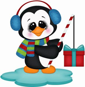 Silhouette Design Store - View Design #70303: penguin fishing for gift pnc
