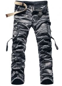 #Gearbest Военный стиль Стильный дизайн Камо нескольких Карманные прямой ногой хлопок смесь Cargo Pants для мужчин (192672) #SuperDeals